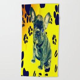Frenchie Paw Print Beach Towel