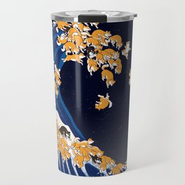 Shiba Inu The Great Wave in Night Travel Mug