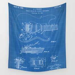 Guitar Tremelo Patent - Guitarist Art - Blueprint Wall Tapestry