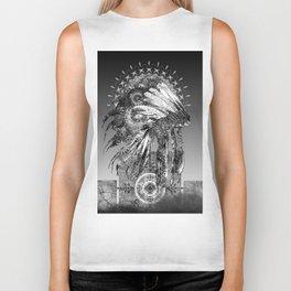 black and white mandala headdress Biker Tank