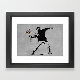 Bansky Flower Bomber Framed Art Print