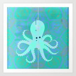 Seafoam Green Sea Green Vintage Pop Art Octopus Graffiti Art Print