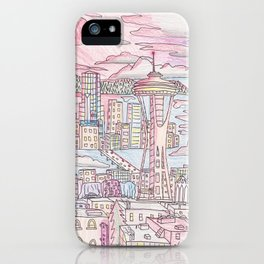 Seattle in Colored Pencil iPhone Case