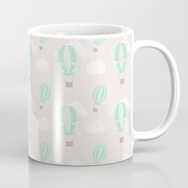 Hand painted mauve pink green white hot air balloons pattern Coffee Mug
