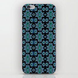 Abstract Vintage African Mask Print Blue iPhone Skin