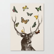 The Stag and Butterflies Canvas Print