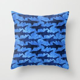 Sharks in the Blue, Blue Sea Throw Pillow