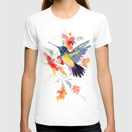 Hummingbird, floral bird art, soft colors T-shirt