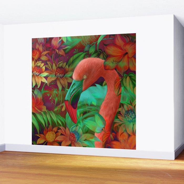 """""""Tropical Floral Retro Flamenco"""" Wall Mural"""