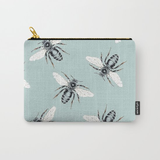 bees on blue Carry-All Pouch