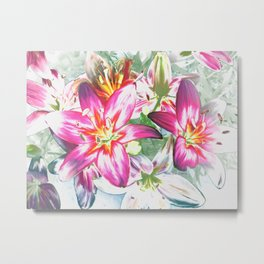 Lily Painting By Annie Zeno Metal Print