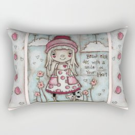 Happy Heart - Motivational Art for Girls Rectangular Pillow