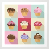 cupcakes Art Prints featuring Cupcakes by Rosa Puchalt