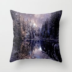 A Cold Winter's Night Neutral Throw Pillow