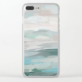 Sage Green Sky Blue Blush Pink Abstract Nature Sky Wall Art, Water Land Painting Print Clear iPhone Case