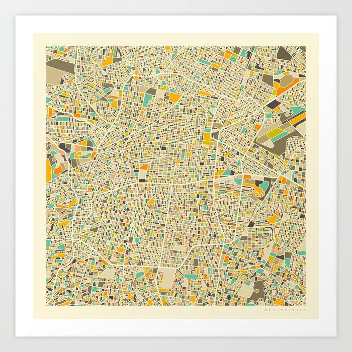 Mexico City Map Art Print by jazzberryblue