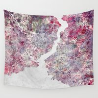 istanbul Wall Tapestries featuring Istanbul Map by MapMapMaps.Watercolors