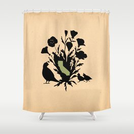 California - State Papercut Print Shower Curtain