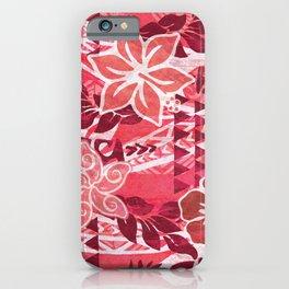 Red Hibiscus Polynesian Tapa iPhone Case