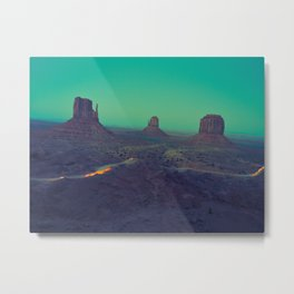 The Arizona Desert Grand Canyon Landscape With Turquoise Sky Sunset Metal Print