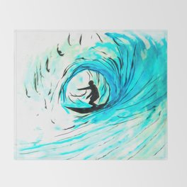 Lone Surfer Tubing the Big Blue Wave Throw Blanket