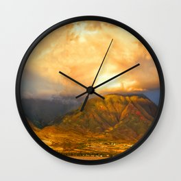 Summer Clouds Over Maui Wall Clock