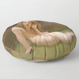 Nude beautiful redhead woman - naked girl Floor Pillow