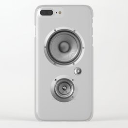 Subwoofer Speaker on white Clear iPhone Case