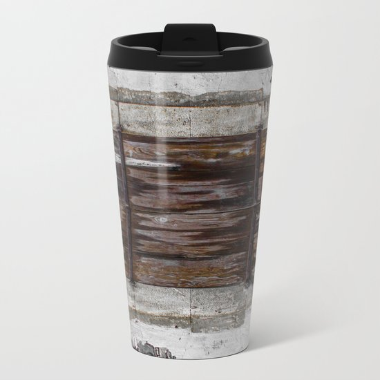 Wooden Window Metal Travel Mug