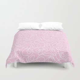 Doodle Line Art | White Lines on Baby Pink Duvet Cover