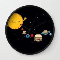 planets Wall Clocks featuring Planets by awkwardyeti