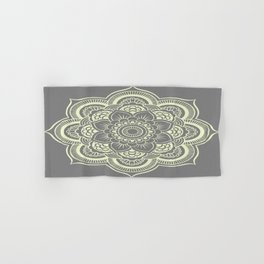 Mandala Flower Gray & Pastel Yellow Hand & Bath Towel