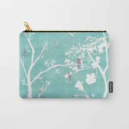 Chinoiserie Panels 1-2 White Scene on Teal Raw Silk - Casart Scenoiserie Collection Carry-All Pouch