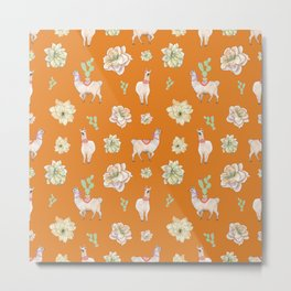 Llamas and Flowers in the Desert (orange palette) Metal Print