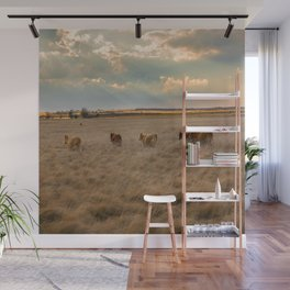 Cows Among the Grass - Cattle Wade Through a Field in Texas Wall Mural