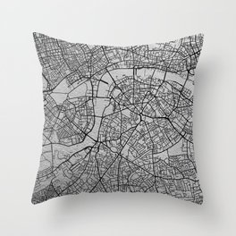 Black and white London map Throw Pillow