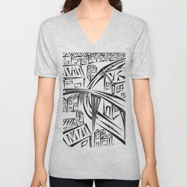 Town Circled By Roads Unisex V-Neck