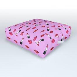Lips and lispticks pattern in pinkish background Outdoor Floor Cushion