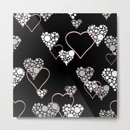 Polka dot pattern, retro, black and white Metal Print