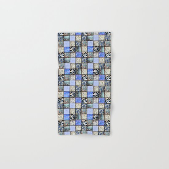 Faux Patchwork Quilting - Blues Hand & Bath Towel