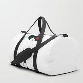 Lady in Black Duffle Bag