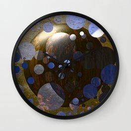 Bronze Gold Blue Moon 3D Pattern Wall Clock