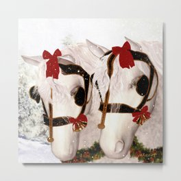 Snowflake and Holly Metal Print