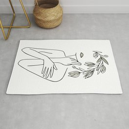 Line Art Minimal Woman With Flower Wreath  Rug