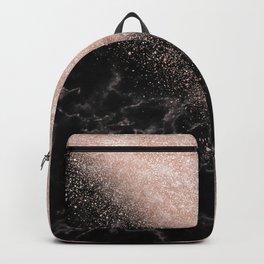 Elegant faux rose gold confetti black marble image Backpack