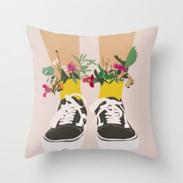 Vans with flowers Throw Pillow