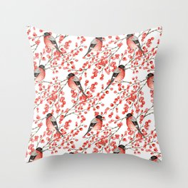 Bullfinch and red berries Throw Pillow