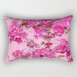 Decorative Pink Crab Apple Blossoms Spring Art Rectangular Pillow