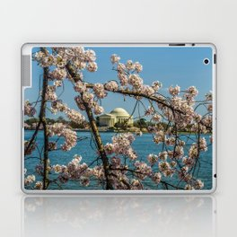 Cherry Blossoms over Jefferson Memorial Laptop & iPad Skin