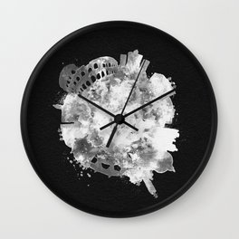Rome, Italy Black and White Skyround / Skyline Watercolor Painting (Inverted Version) Wall Clock